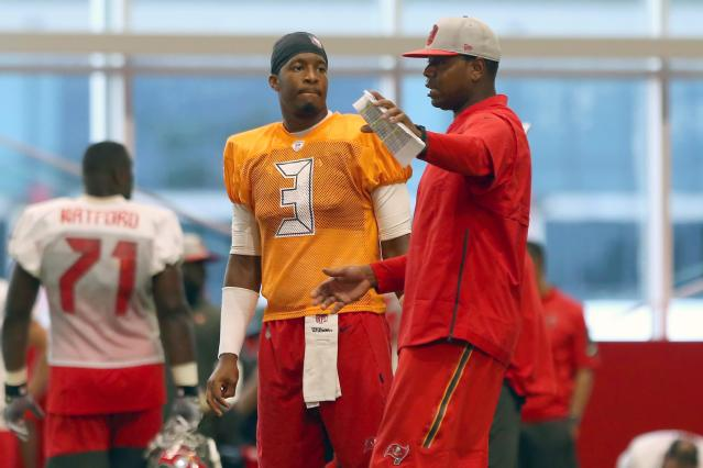 """Bucs offensive coordinator Byron Leftwich has a high view of QB Jameis Winston: """"I don't think he's ever played bad football,"""" Leftwich said. """"That's the misconception."""" (Getty Images)"""