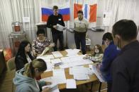 Members of an election commission count ballots after voting at a polling station after the Parliamentary elections in Nikolayevka village outside Omsk, Russia, Sunday, Sept. 19, 2021. From the Baltic Sea to the Pacific Ocean, Russians across eleven time zones voted Sunday on the third and final day of a national election for a new parliament, a ballot in which the pro-Kremlin ruling party is largely expected to retain its majority after months of relentless crackdown on the opposition. (AP Photo/Evgeniy Sofiychuk)