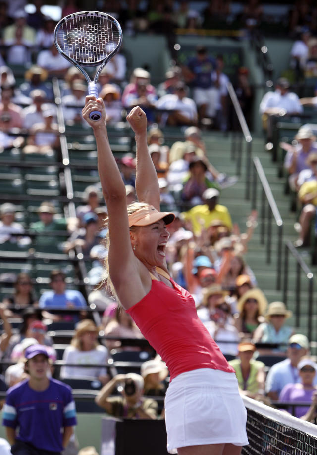 Maria Sharapova, of Russia, reacts after defeating Caroline Wozniacki, of Denmark, 4-6, 6-2, 6-4 during the Sony Ericsson tennis tournament, Thursday, March 29, 2012, in Key Biscayne, Fla. (AP Photo/Lynne Sladky)