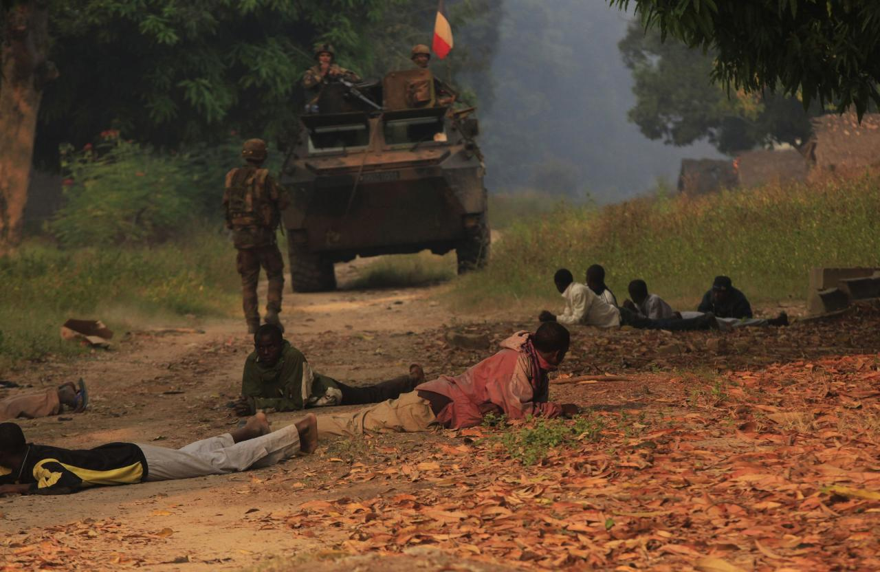 Residents lie on the ground as they are searched by French soldiers during a patrol of villages in Bossangoa, north of the Central African Republic (CAR) capital Bangui January 3, 2014. French and African troops deployed in the country have struggled to stop the tit-for-tat violence between Muslim Seleka rebels, who seized power in March, and Christian self-defence militia, clashes that killed more than 1,000 people in December. REUTERS/Andreea Campeanu (CENTRAL AFRICAN REPUBLIC - Tags: CIVIL UNREST MILITARY)