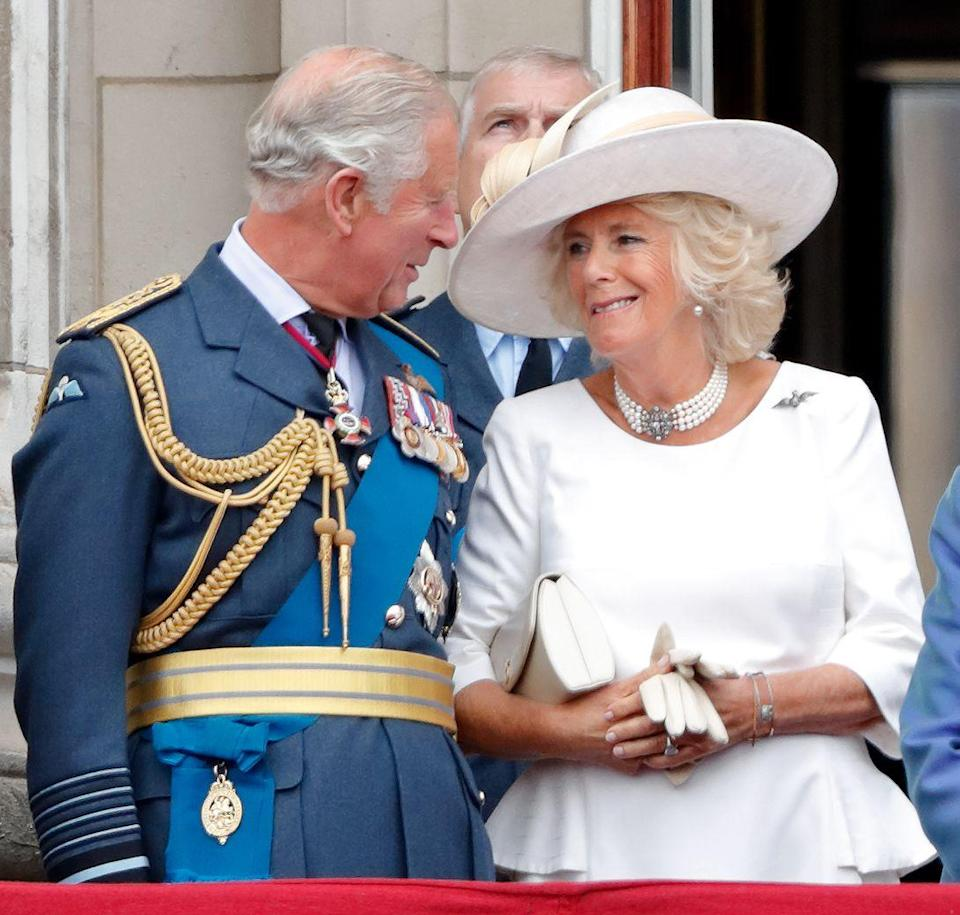 "<p>A flypast to mark the centenary of the Royal Air Force inspired this knowing glance between Charles and Camilla up on <a href=""https://www.townandcountrymag.com/society/tradition/a9990351/buckingham-palace-royal-balcony-history/"" rel=""nofollow noopener"" target=""_blank"" data-ylk=""slk:the balcony of Buckingham Palace"" class=""link rapid-noclick-resp"">the balcony of Buckingham Palace</a>.</p>"