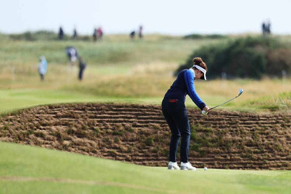 England's Georgia Hall is well placed to challenge ahead of the weekend at the AIG Women's Open at Carnoustie