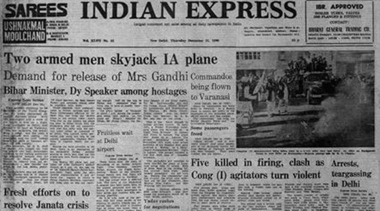 Two of Mrs. Gandhi's supporters hijacked a plane to demand her release