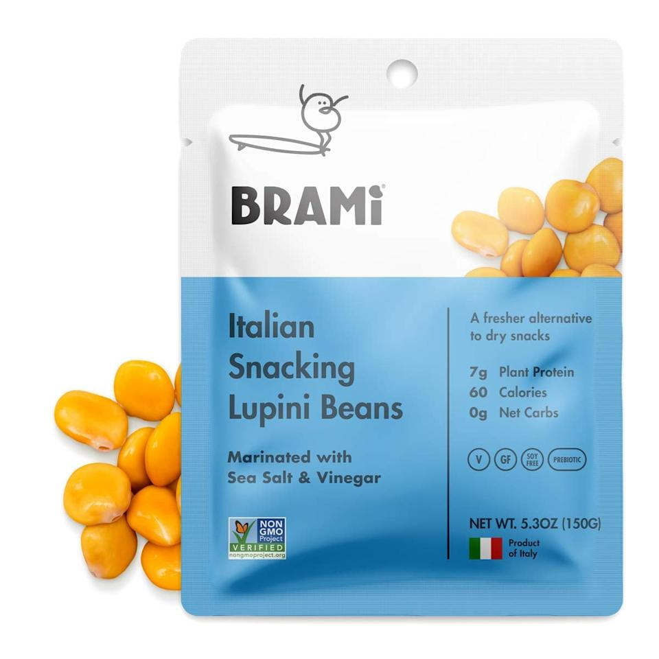 """<p>This pack of eight gluten-free <product href=""""https://www.amazon.com/BRAMI-Gluten-Protein-Vegan-Lupini/dp/B01N5EYTAS/ref=sr_1_1_sspa?ie=UTF8&amp;qid=1525120937&amp;sr=8-1-spons&amp;keywords=brami%2Bsea%2Bsalt&amp;th=1"""" target=""""_blank"""" class=""""ga-track"""" data-ga-category=""""internal click"""" data-ga-label=""""https://www.amazon.com/BRAMI-Gluten-Protein-Vegan-Lupini/dp/B01N5EYTAS/ref=sr_1_1_sspa?ie=UTF8&amp;qid=1525120937&amp;sr=8-1-spons&amp;keywords=brami%2Bsea%2Bsalt&amp;th=1"""" data-ga-action=""""body text link"""">Brami High-Protein Vegan Lupini Beans Snacks</product> ($32 for eight) comes in various flavors and is a customer favorite.</p>"""