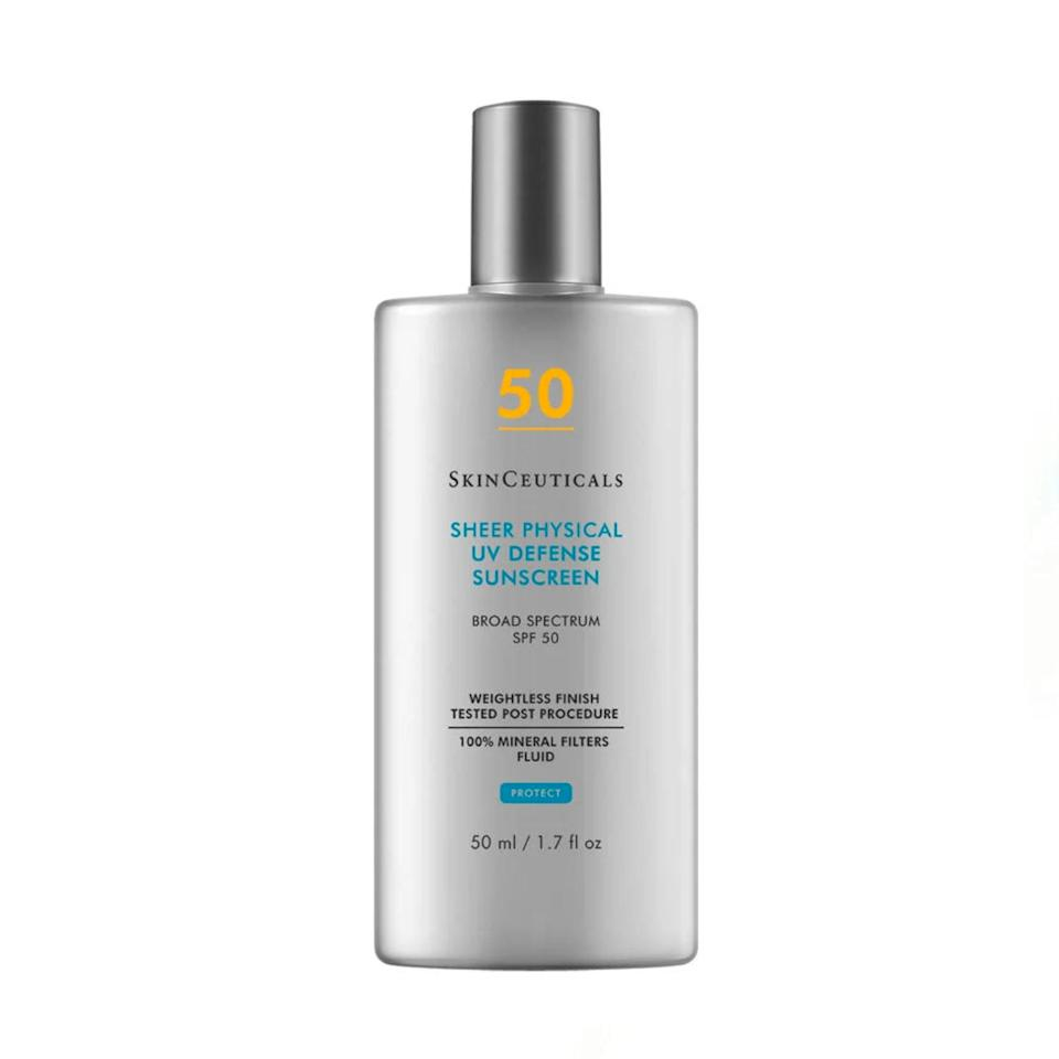 """This is <a href=""""https://www.glamour.com/gallery/best-mineral-sunscreen?mbid=synd_yahoo_rss"""" rel=""""nofollow noopener"""" target=""""_blank"""" data-ylk=""""slk:mineral sunscreen"""" class=""""link rapid-noclick-resp"""">mineral sunscreen</a> for people who hate mineral sunscreen—or anyone who tends to forget the crucial <a href=""""https://www.glamour.com/gallery/best-face-sunscreens?mbid=synd_yahoo_rss"""" rel=""""nofollow noopener"""" target=""""_blank"""" data-ylk=""""slk:SPF step"""" class=""""link rapid-noclick-resp"""">SPF step</a> in their skin-care routine. Trust me, you'll actually <em>want</em> to apply this every morning. It's so lightweight that it glides on like a serum and has a sheer, non-clumpy finish that'll play well under your <a href=""""https://www.glamour.com/gallery/best-foundations-lightweight?mbid=synd_yahoo_rss"""" rel=""""nofollow noopener"""" target=""""_blank"""" data-ylk=""""slk:foundation"""" class=""""link rapid-noclick-resp"""">foundation</a> or other products. It's also mattifying and won't leave you with a layer of sticky residue, making it a dream for anyone with oily skin. Best part? I have a medium skin tone and it did not leave any white cast behind! Highly recommend. —<em>S.S.</em> $35, SkinCeuticals. <a href=""""https://shop-links.co/1739895893926154015"""" rel=""""nofollow noopener"""" target=""""_blank"""" data-ylk=""""slk:Get it now!"""" class=""""link rapid-noclick-resp"""">Get it now!</a>"""