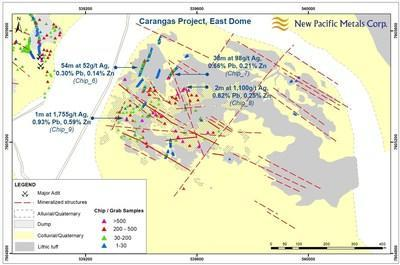 Figure 3: Geology Map of East Dome, Carangas Project, Bolivia, including Sample Results (CNW Group/New Pacific Metals Corp.)