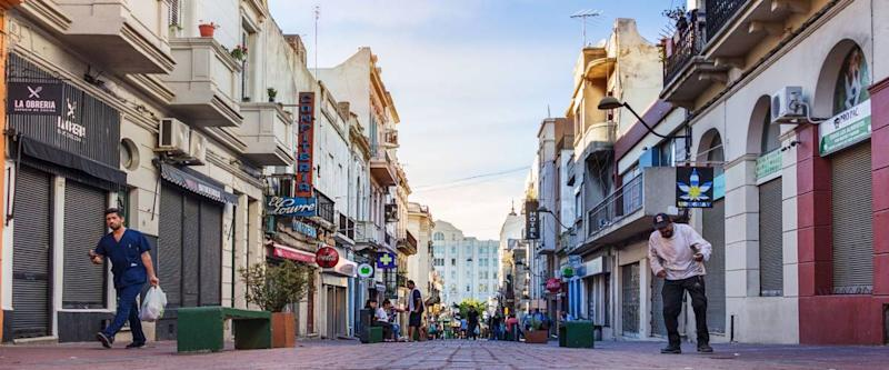 Montevideo, Uruguay - February 25th, 2018: The pedestrian street Calle Perez Castellano at the downtown near the Port of Montevideo.