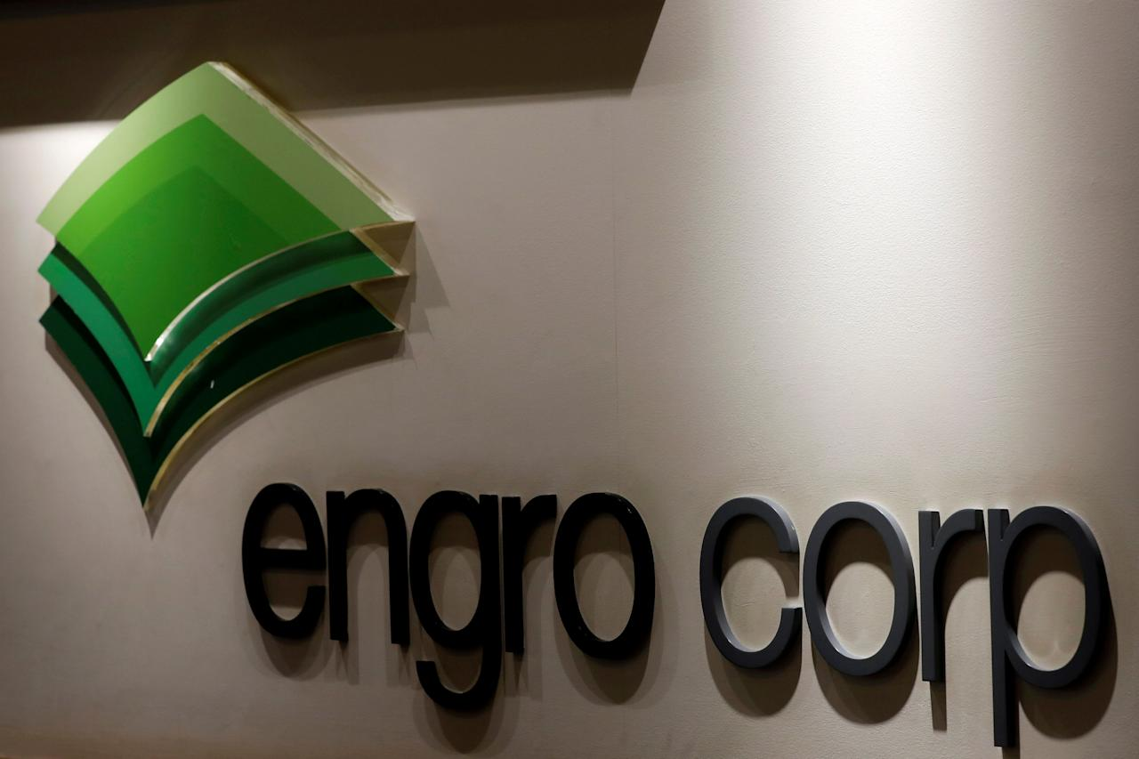 FILE PHOTO: The logo of Engro Corporation is seen at an office in Karachi, Pakistan September 10, 2018. REUTERS/Akhtar Soomro/File Photo