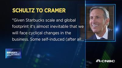 """CNBC's Jim Cramer and the """"Squawk on the Street"""" team discuss comments made by former Starbucks CEO Howard Schultz about the state of the coffee giant as he steps down from the board."""
