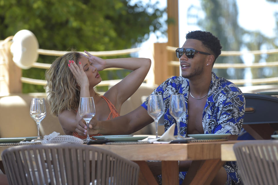 MARBELLA, SPAIN - JULY 28: Kaz Crossley and Theo Campbell are spotted on a photoshoot with boohoo & boohooMAN at Nao Pool Club, Ibiza on July 28, 2019 in Marbella, Spain. (Photo by David M. Benett/Dave Benett/Getty Images for Boohoo & BoohooMAN)