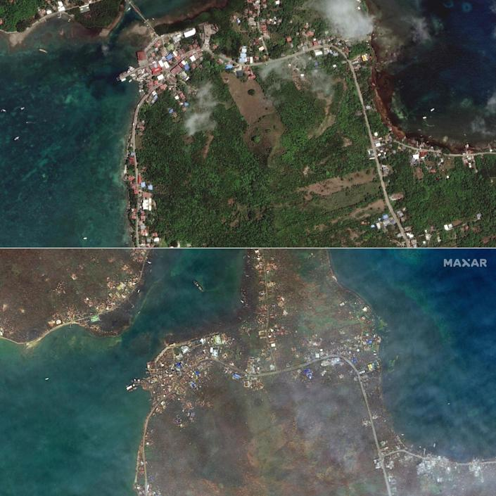 The island before (above) and after Hurricane Iota hit - AFP
