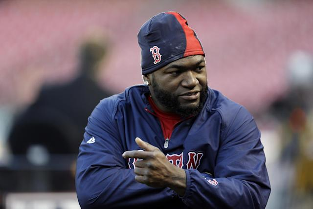 Boston Red Sox's David Ortiz during baseball practice Friday, Oct. 25, 2013, in St. Louis. The Red Sox and St. Louis Cardinals are set to play Game 3 of the World Series on Saturday in St. Louis. (AP Photo/Jeff Roberson)