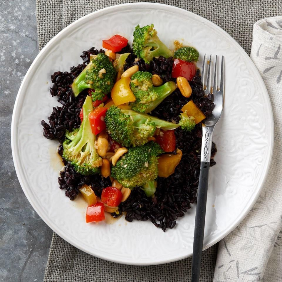 <p>Broccoli florets soak up the flavors from Chinese five-spice powder--a combination of sweet spices including anise, cinnamon, cloves and subtly spicy Szechuan peppercorns. Serve over black rice.</p>
