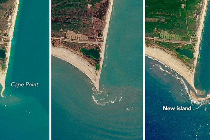 "<img alt=""""/><p>A mile-long island recently formed off the coast of North Carolina's Outer Banks, and thanks to <a rel=""nofollow"" href=""https://earthobservatory.nasa.gov/IOTD/view.php?id=90550&eocn=home&eoci=iotd_image"">newly released</a> satellite images from NASA, we now have a crystal-clear view of this piece of land.</p> <p>Shelly Island — which was first registered back in November 2016 and <a rel=""nofollow"" href=""https://pilotonline.com/news/local/environment/large-new-island-forms-off-popular-outer-banks-fishing-spot/article_dbf266d9-5991-586c-8209-8ec6f24a01ee.html"">reported</a> about in June — lies just off the tip of Cape Point at Cape Hatteras National Seashore. Images acquired by the <a rel=""nofollow"" href=""http://landsat.gsfc.nasa.gov/?p=5447"">Operational Land Imager</a> on the <a rel=""nofollow"" href=""http://landsat.gsfc.nasa.gov/?page_id=4071"">Landsat 8</a> satellite show the shoal's growth over the past few months.</p> <div><p>SEE ALSO: <a rel=""nofollow"" href=""http://mashable.com/2017/07/13/swimming-elephant-saved-sri-lanka/?utm_campaign=Mash-BD-Synd-Yahoo-Science-Full&utm_cid=Mash-BD-Synd-Yahoo-Science-Full"">Intense video shows elephant stranded at sea being saved by rescuers</a></p></div> <p>NASA <a rel=""nofollow"" href=""https://earthobservatory.nasa.gov/IOTD/view.php?id=90550&eocn=home&eoci=iotd_image"">shared</a> three natural-color images of the land's progression over time: the left is from Nov. 2016, the center is from Jan. 2017, and the right was taken most recently, on July 7, 2017.</p> <p><img title=""Progress shots captured of Shelly Island."" alt=""Progress shots captured of Shelly Island.""></p> <p>Progress shots captured of Shelly Island.</p><div><p>Image:  NASA Earth Observatory images by Jesse Allen and Joshua Stevens,  using Landsat data from the U.S. Geological Survey</p></div><p>The shoal is only slightly visible in the second shot, but by July the island is clear, wrapping around the cape's tip.</p> <p>In a <a rel=""nofollow"" href=""https://earthobservatory.nasa.gov/IOTD/view.php?id=90550&eocn=home&eoci=iotd_image"">NASA report</a>, geomorphologist Andrew Ashton discussed what might have led to the island's formation. ""What exactly causes a shallow region to become exposed is a deep question, and one that is difficult to speculate on without exact observations,"" he said, noting that this type of thing likely occurs due to ""...a high tide or storm-driven water elevation that piled up sediment to near the surface....""</p> <p>When water levels drop and the shoal becomes exposed, Ashton explained, ""waves then continue to build the feature while also moving it about.""</p> <p>As the report mentioned, in the past 10 years several islands have formed off the shoal of Cape Lookout, a nearby cape down the barrier islands.</p> <p>Even so, this particular surprise sandbar sure is beautiful.</p> <div> <h2><a rel=""nofollow"" href=""http://mashable.com/2017/07/12/giant-iceberg-breaks-off-antarctica/?utm_campaign=Mash-BD-Synd-Yahoo-Science-Full&utm_cid=Mash-BD-Synd-Yahoo-Science-Full"">WATCH: An iceberg the size of Delaware broke off Antarctica</a></h2> <div> <p><img alt=""Https%3a%2f%2fvdist.aws.mashable.com%2fcms%2f2017%2f7%2f13e92fae 63ad d463%2fthumb%2f00001""></p>   </div> </div>"