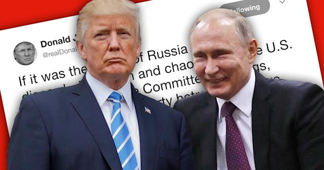 President Trump and Russian President Vladimir Putin. (Photo illustration: Yahoo News; photos: AP, Alexander Zemlianichenko/AFP/Getty Images)