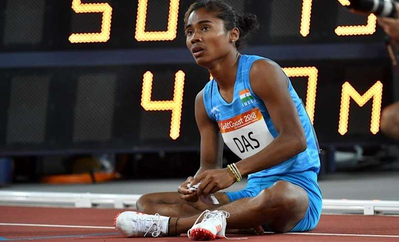 India's Hima Das reacts after the women's 400m final at the 2018 Gold Coast Commonwealth Games. AFP