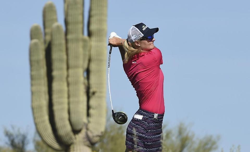 Anna Nordqvist of Sweden hits her drive on the 15th hole during the the third round of the Bank Of Hope Founders Cup, at Wildfire Golf Club at the JW Marriott Desert Ridge Resort in Phoenix, Arizona, on March 18, 2017 (AFP Photo/Steve Dykes)