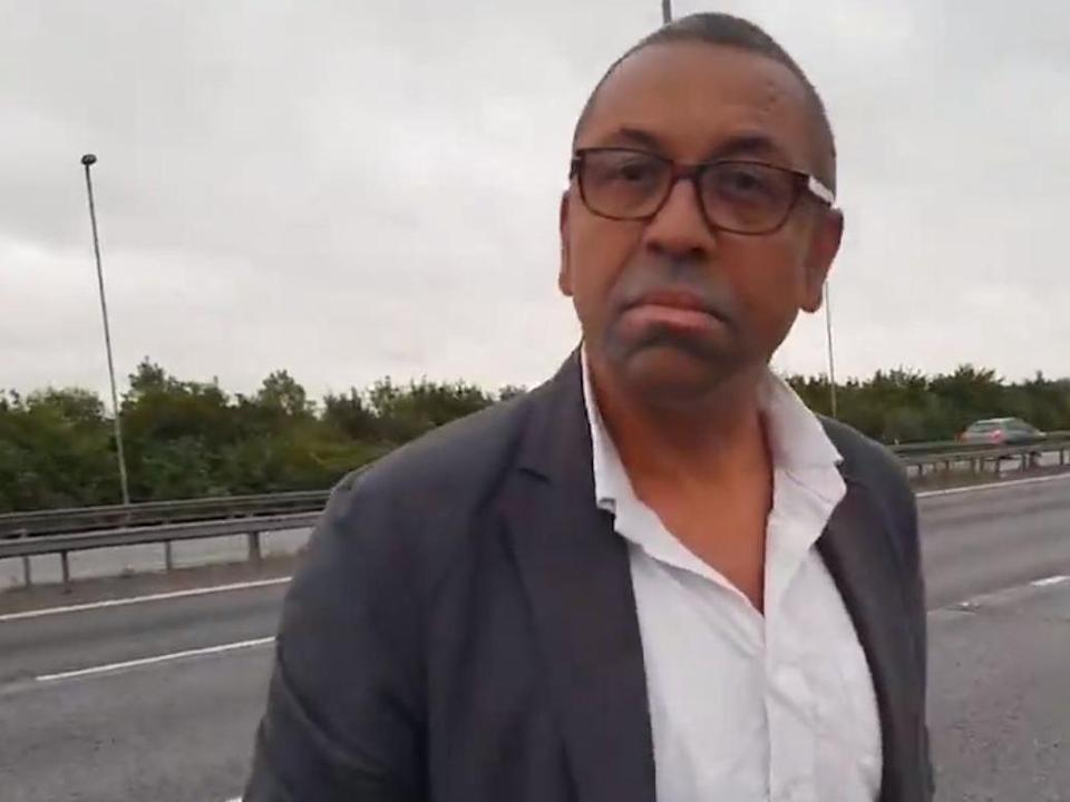 James Cleverly MP on the side of the M11: Asim Khan / Twitter