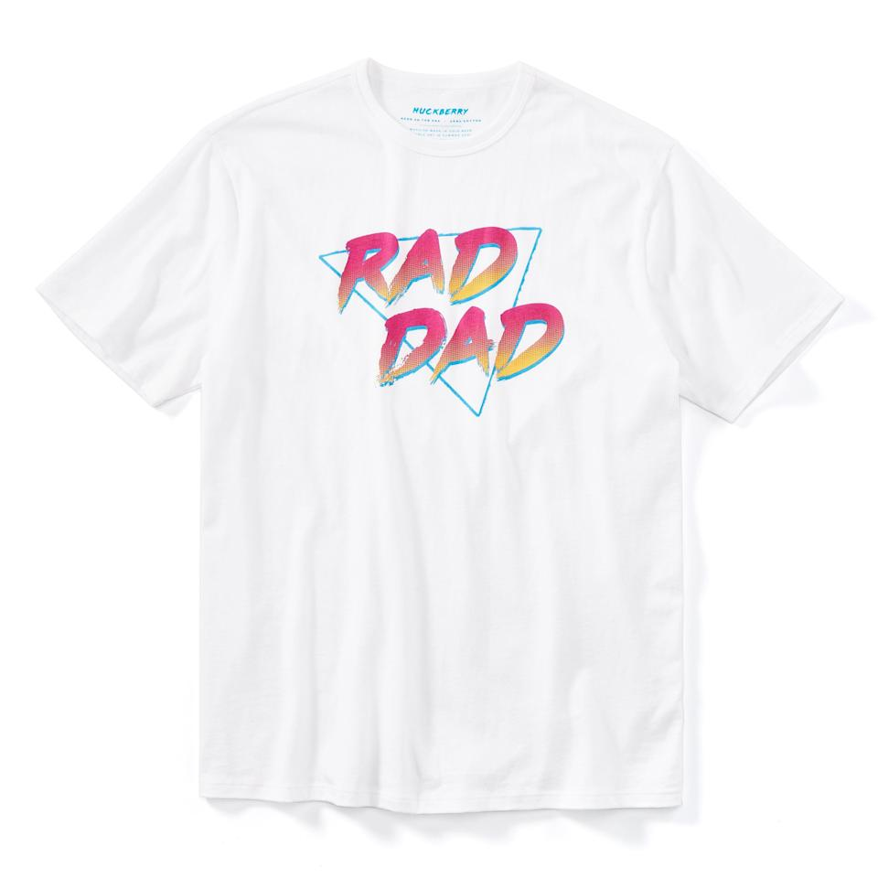 """<h3>The Dad-Jokes Dad</h3><p>Give him something to wear while he's working on his new material, while letting the world know exactly what kind of dad you have. In all seriousness, we love that 100% of the profits of this tee benefits <a href=""""http://foreveryoung.org/"""" rel=""""nofollow noopener"""" target=""""_blank"""" data-ylk=""""slk:Forever Young"""" class=""""link rapid-noclick-resp"""">Forever Young</a>, a foundation that provides academic, athletic, and therapeutic opportunities to kids who wouldn't otherwise have them. Pretty rad, indeed. Comes in white and black.</p><br><br><strong>Huckberry</strong> Rad Dad Tee, $35, available at <a href=""""https://huckberry.com/store/huckberry/category/p/59228-rad-dad-tee"""" rel=""""nofollow noopener"""" target=""""_blank"""" data-ylk=""""slk:Huckberry"""" class=""""link rapid-noclick-resp"""">Huckberry</a>"""