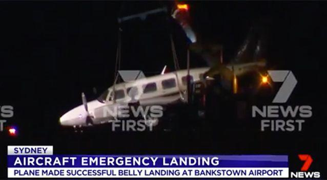 The plane landed safely at Bankstown Airport. Source: 7 News