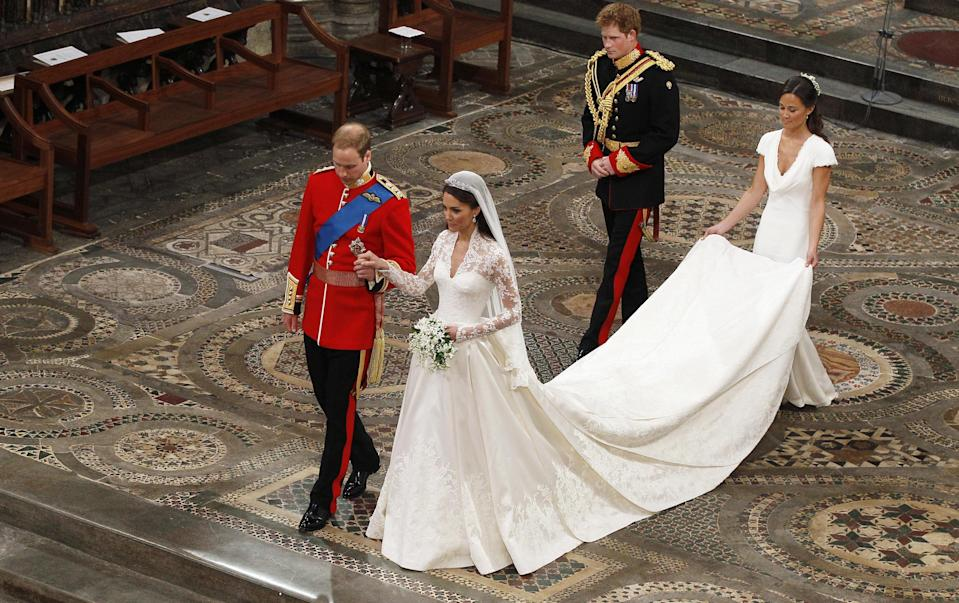"""<p>Believe it or not, it has been an entire decade since the UK stopped to celebrate <a href=""""https://www.elle.com/uk/life-and-culture/g36127678/kate-middleton-prince-william-wedding-moments/"""" rel=""""nofollow noopener"""" target=""""_blank"""" data-ylk=""""slk:Kate Middleton and Prince William's royal wedding."""" class=""""link rapid-noclick-resp"""">Kate Middleton and Prince William's royal wedding.</a> </p><p><a href=""""https://www.elle.com/uk/life-and-culture/wedding/a19752026/royal-photographer-chris-jackson-wedding/"""" rel=""""nofollow noopener"""" target=""""_blank"""" data-ylk=""""slk:Royal weddings in this country are famously surrounded by huge fanfare"""" class=""""link rapid-noclick-resp"""">Royal weddings in this country are famously surrounded by huge fanfare</a> - cast your minds back to just three years ago when <a href=""""https://www.elle.com/uk/royal-wedding/"""" rel=""""nofollow noopener"""" target=""""_blank"""" data-ylk=""""slk:Prince Harry and Meghan Markle tied the knot at Windsor Castle"""" class=""""link rapid-noclick-resp"""">Prince Harry and Meghan Markle tied the knot at Windsor Castle</a> - so when the wedding of an heir to the throne and future queen took place, naturally it was cause for celebration.</p><p>But, amid the national outpouring and very public televised ceremony (watched by an estimated two billion people), the couple still managed to keep some things for themselves, in the form of hidden meanings and symbolic gestures throughout their big day. </p><p>Here are the meaningful touches you might have missed. </p>"""