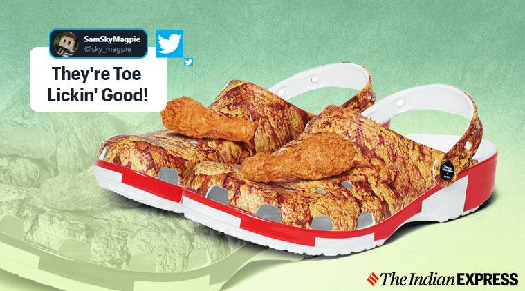 KFC, Crocs, Fried chicken print shoes, friend chicken shoes, KFC shoes, KFC crocs collaboration, KFC fried chicken print crocs, Colonel Sanders, Trending, Indian Express news