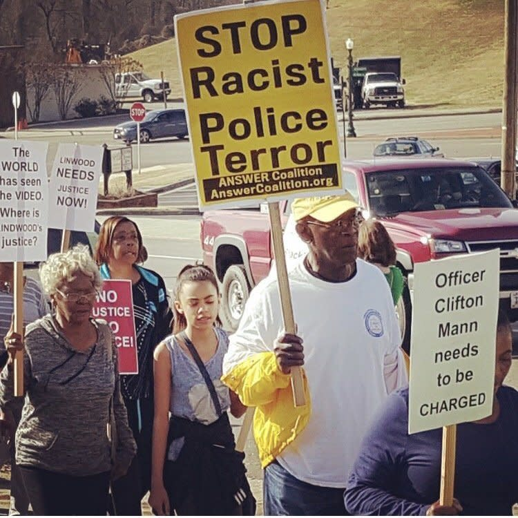 Dr. M. Rick Turner (second from right) at a NAACP demonstration in South Boston -- November 2015. (Dr M Rick Turner)