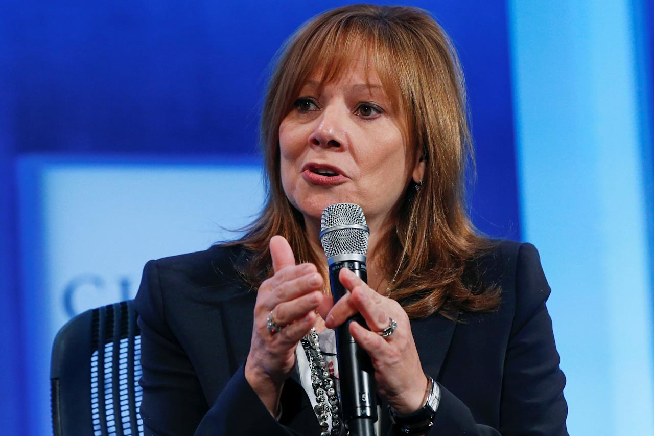 """FILE PHOTO: Mary Barra, Chief Executive Officer for General Motors Company, speaks during the plenary session titled """"Valuing What Matter"""" at the Clinton Global Initiative 2014 (CGI) in New York, September 23, 2014.  REUTERS/Shannon Stapleton/File Photo"""