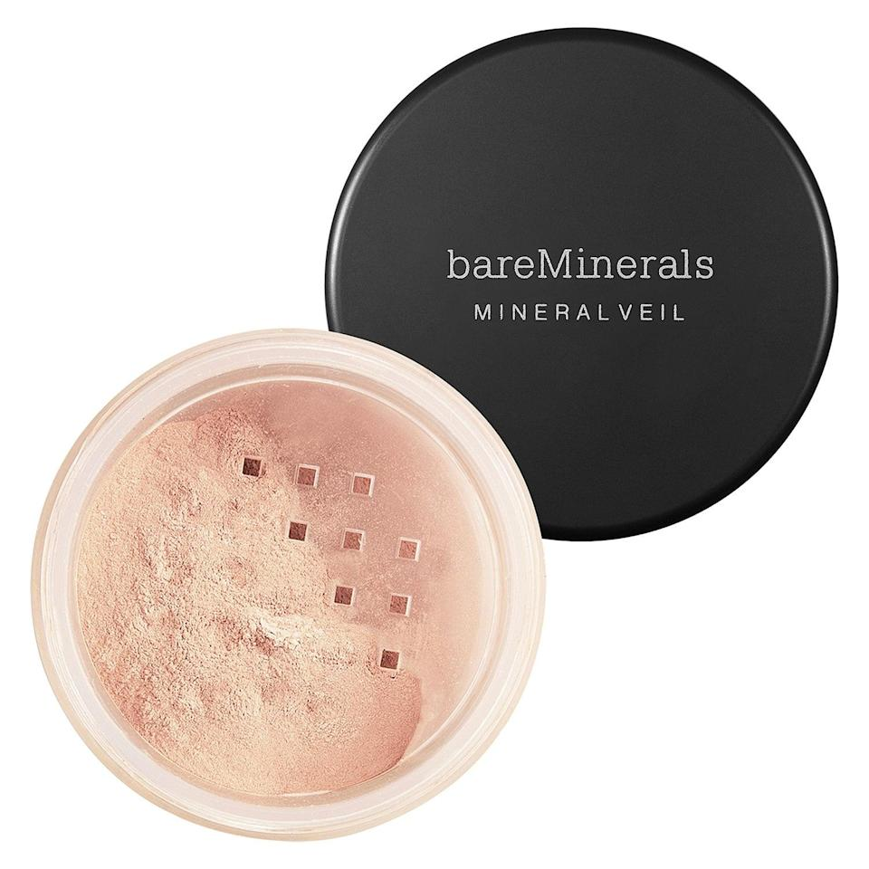 "<p>This <a href=""https://www.popsugar.com/buy/BareMinerals-Mineral-Veil-Setting-Powder-Broad-Spectrum-SPF-25-587077?p_name=BareMinerals%20Mineral%20Veil%20Setting%20Powder%20Broad%20Spectrum%20SPF%2025&retailer=sephora.com&pid=587077&price=25&evar1=bella%3Aus&evar9=47597630&evar98=https%3A%2F%2Fwww.popsugar.com%2Ffashion%2Fphoto-gallery%2F47597630%2Fimage%2F47597648%2FBareMinerals-Mineral-Veil-Setting-Powder-Broad-Spectrum-SPF-25&list1=makeup%2Csephora%2Cbeauty%20shopping&prop13=api&pdata=1"" class=""link rapid-noclick-resp"" rel=""nofollow noopener"" target=""_blank"" data-ylk=""slk:BareMinerals Mineral Veil Setting Powder Broad Spectrum SPF 25"">BareMinerals Mineral Veil Setting Powder Broad Spectrum SPF 25</a> ($25) has sun protection - and no talc - to reduce shine and keep makeup from running off in the heat. Or choose the original, shine-reducing <a href=""https://www.popsugar.com/buy/BareMinerals-Mineral-Veil-588000?p_name=BareMinerals%20Mineral%20Veil&retailer=sephora.com&pid=588000&price=14&evar1=bella%3Aus&evar9=47597630&evar98=https%3A%2F%2Fwww.popsugar.com%2Ffashion%2Fphoto-gallery%2F47597630%2Fimage%2F47597648%2FBareMinerals-Mineral-Veil-Setting-Powder-Broad-Spectrum-SPF-25&list1=makeup%2Csephora%2Cbeauty%20shopping&prop13=api&pdata=1"" class=""link rapid-noclick-resp"" rel=""nofollow noopener"" target=""_blank"" data-ylk=""slk:BareMinerals Mineral Veil"">BareMinerals Mineral Veil</a> ($14-$25), which leaves an airbrushed-like finish on skin and has earned more than 4,300 five-star reviews from Sephora shoppers.</p>"