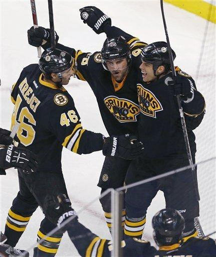 Boston Bruins right wing Nathan Horton, top right, is congratulated by teammates David Krejci (46), of the Czech Republic, and Johnny Boychuk, center, after his goal during the third period of an NHL hockey game against the New Jersey Devils in Boston, Tuesday, Jan. 29, 2013. (AP Photo/Charles Krupa)