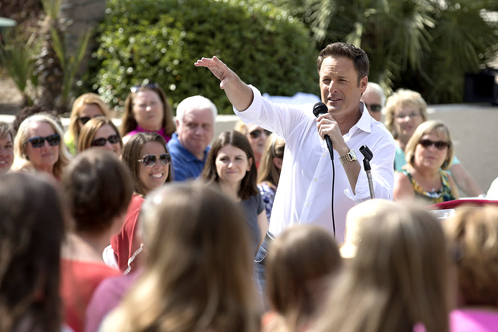 <p>Chris Harrison in ABC's <i>The Bachelorette. </i>(Photo: Bob Leverone/ABC) </p>