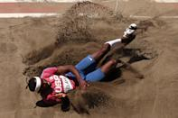 <p>Will Claye of Team United States competes in the Men's Triple Jump Final on day thirteen of the Tokyo 2020 Olympic Games at Olympic Stadium on August 05, 2021 in Tokyo, Japan. (Photo by Ryan Pierse/Getty Images)</p>