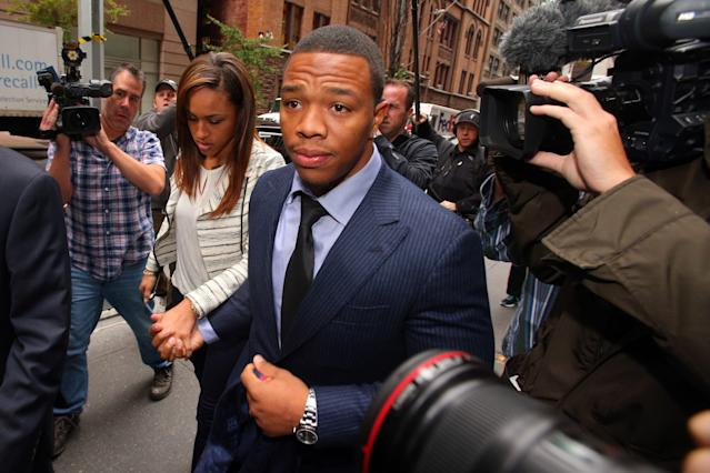 Former NFL running back Ray Rice arrives with his wife, Janay Rice for his appeal hearing on his indefinite suspension from the NFL on Nov 5, 2014.