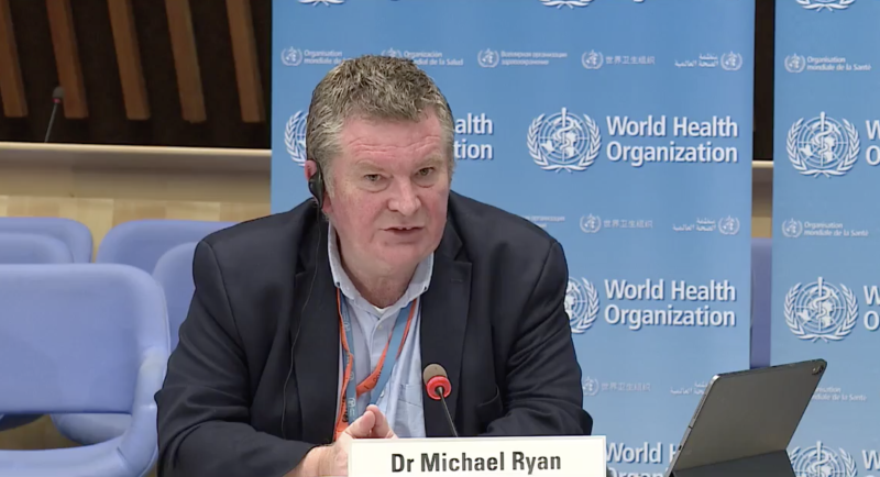 Dr Michael Ryan speaks at a World Health Organisation press conference.