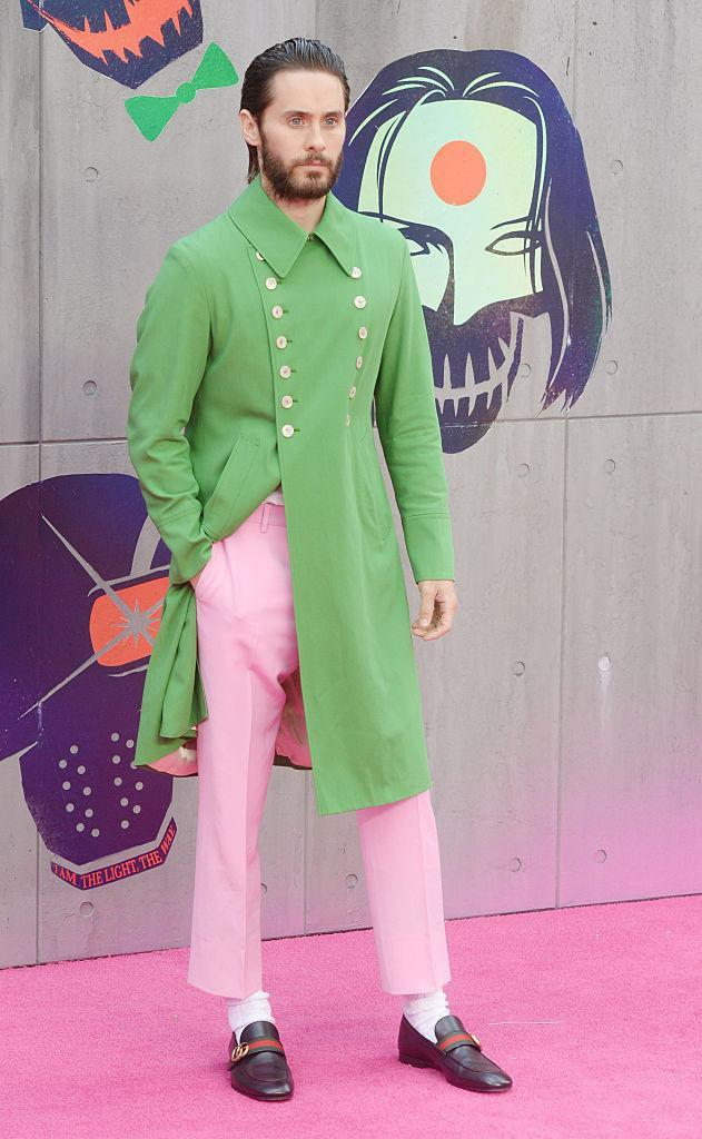 """<p>The Gucci-loving star naturally went for a head-to-toe look for the European premiere of """"Suicide Squad,"""" which included a green jacket, pale pink pants and loafers. Check out Leto's style evolution <a href=""""https://ca.style.yahoo.com/jared-leto-style-evolution-190717807.html?platform=hootsuite"""" data-ylk=""""slk:here;outcm:mb_qualified_link;_E:mb_qualified_link;ct:story;"""" class=""""link rapid-noclick-resp yahoo-link"""">here</a>. <i>(Photo by Rune Hellestad - Corbis/Corbis via Getty Images)</i></p>"""