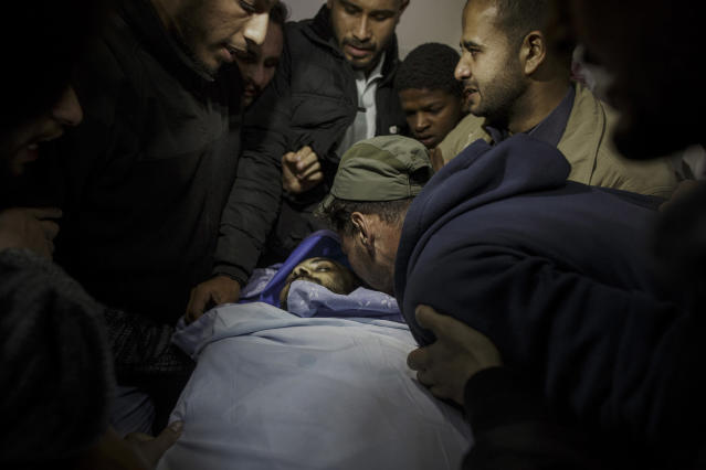 "<p>Relatives and friends mourning the death of the Palestinian photographer Ahmad Abu Hussein (24), who died of wounds after being shot by an Israeli sniper while covering the ""Great March of Return"" protests, April 24, 2018. (Photo: Fabio Bucciarelli for Yahoo News) </p>"