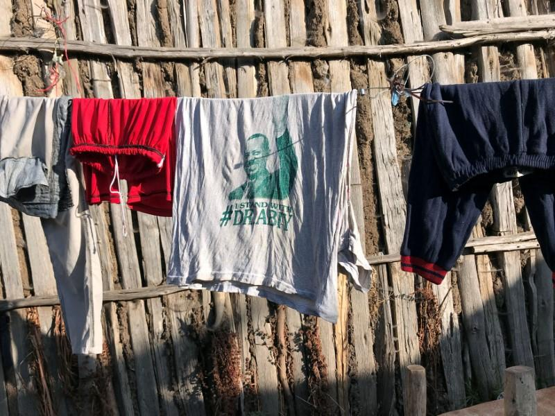 FILE PHOTO: A shirt supporting Ethiopian Prime Minister Abiy Ahmed hangs to dry on a line in the northern Ethiopian town of Debark