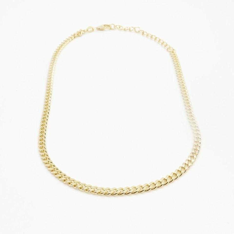 """<p>""""I was looking for a choker-length necklace to layer with, and the chain detail on this <span>Kay Jo Jade Choker</span> ($55) is perfect.""""</p>"""