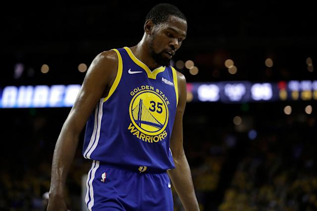 Golden State Warriors' Kevin Durant won't play in Game 6 Friday against the Houston Rockets. (AP Photo/Ben Margot)