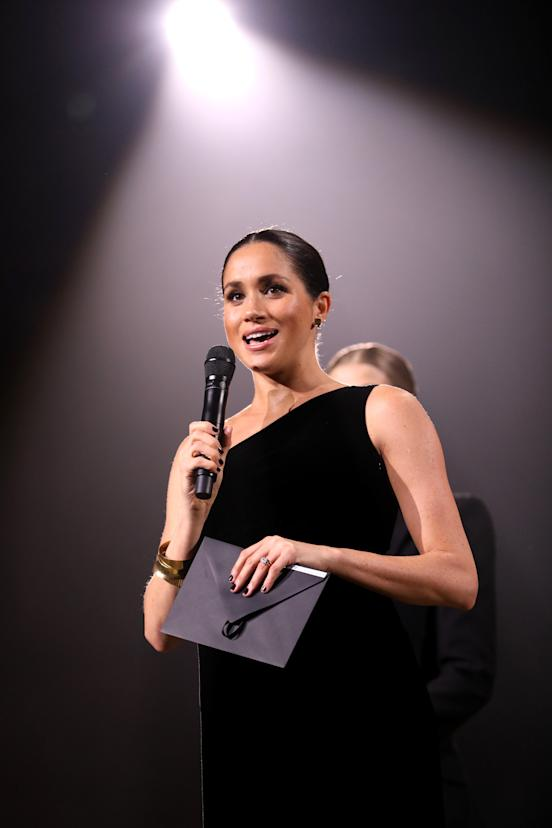LONDON, ENGLAND - DECEMBER 10: Meghan, Duchess of Sussex on stage during The Fashion Awards 2018 In Partnership With Swarovski at Royal Albert Hall on December 10, 2018 in London, England. (Photo by Tristan Fewings/BFC/Getty Images)