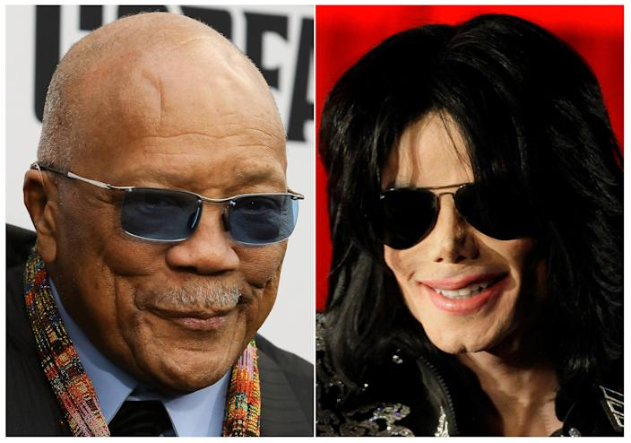 Quincy Jones in Los Angeles on June 3, 2019, left, and Michael Jackson at a press conference in London on March 5, 2009.