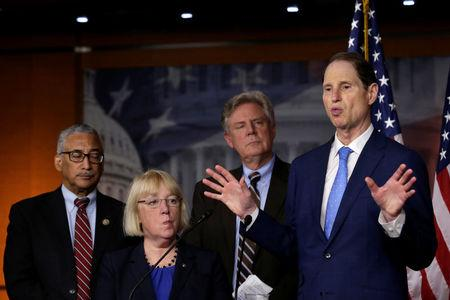 U.S. Senator Ron Wyden (D-OR) speaks at a news conference on U.S. President Trump's administration's first 100 days and healthcare, on Capitol Hill in Washington