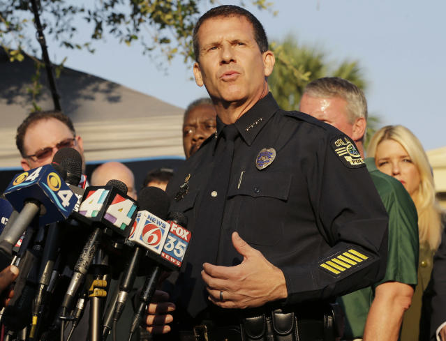 <p>Orlando Police Chief John Mina describes the details of the fatal shootings at the Pulse Orlando nightclub during a media briefing June 13, 2016, in Orlando, Fla. (AP Photo/Chris O'Meara) </p>