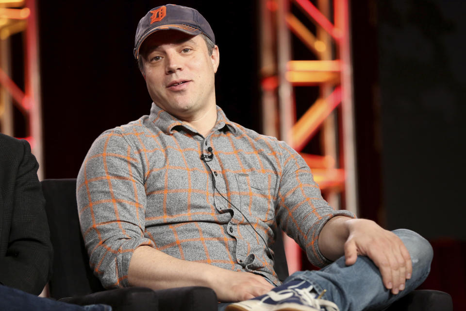 FILE - In this Jan. 9, 2018 file photo, President and Chief Creative Officer at DC Entertainment Geoff Johns participates in the