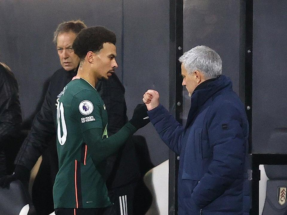 Tottenham midfielder Dele Alli and manager Jose Mourinho (Tottenham Hotspur FC via Getty I)