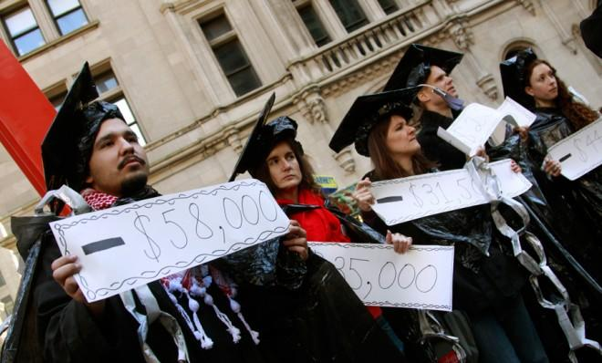 """Protesters take part in an """"Occupy Student Debt"""" march in New York in 2011."""