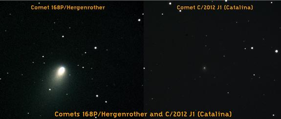 A side-by-side view of comets 168P/Hergenrother and C/2012 J1 (Catalina) as seen by robotic telescopes operated by the Slooh Space Camera.