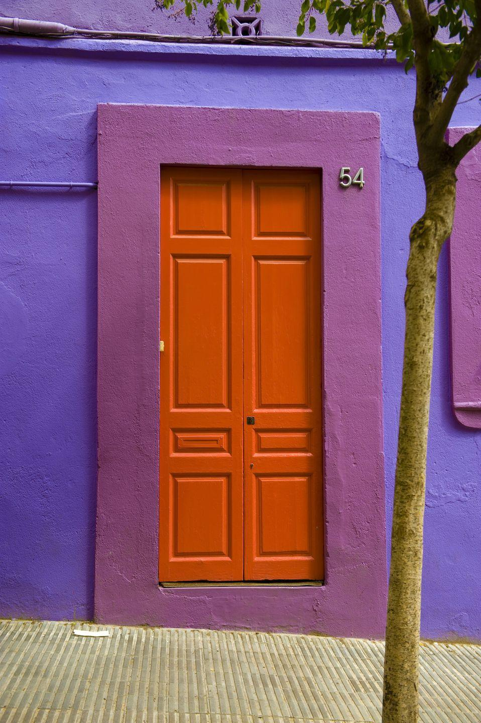 <p>A bright orange door framed by pretty shades of purple.</p>