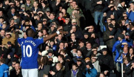 Everton's midfielder Royston Drenthe celebrates scoring during their English FA Cup 5th Round football match against Blackpool at Goodison Park in Liverpool. Everton won 2-0