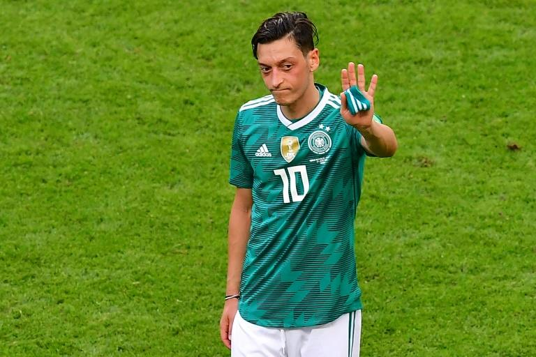 Ozil trudges off after the 2-0 defeat by South Korea at the World Cup which saw the holders crash out on what proved to be his last international appearance